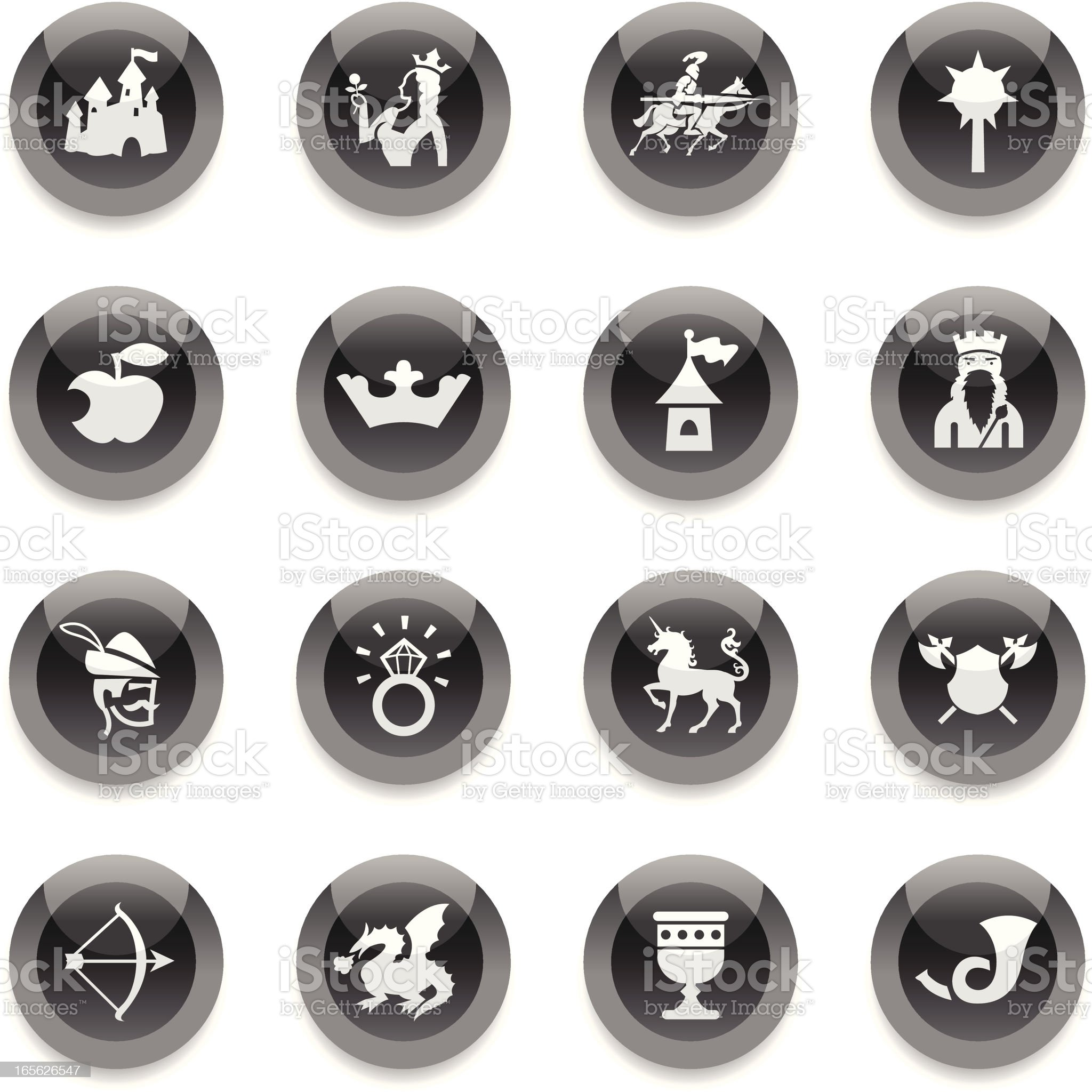 Black Round Icons - Medieval Fairytale royalty-free stock vector art