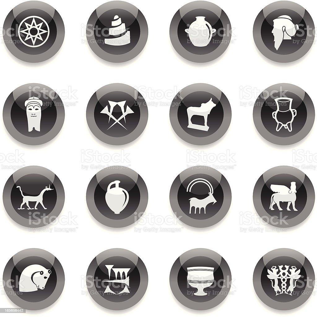 Black Round Icons - Mesopotamia royalty-free stock vector art