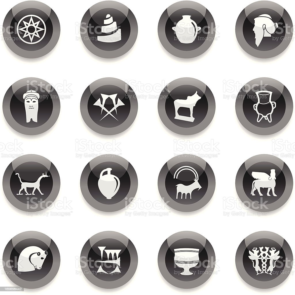 Black Round Icons - Mesopotamia vector art illustration