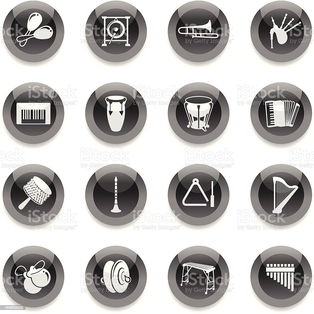 Black Round Icons - Musical Instruments Set royalty-free stock vector art