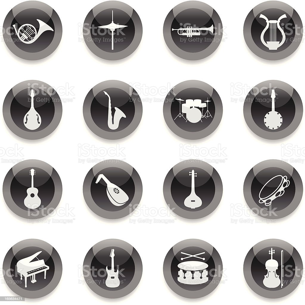 Black Round Icons - Musical Instruments royalty-free stock vector art