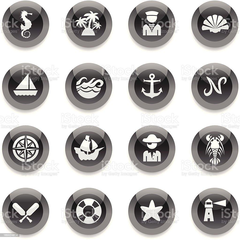 Black Round Icons - Nautical royalty-free stock vector art