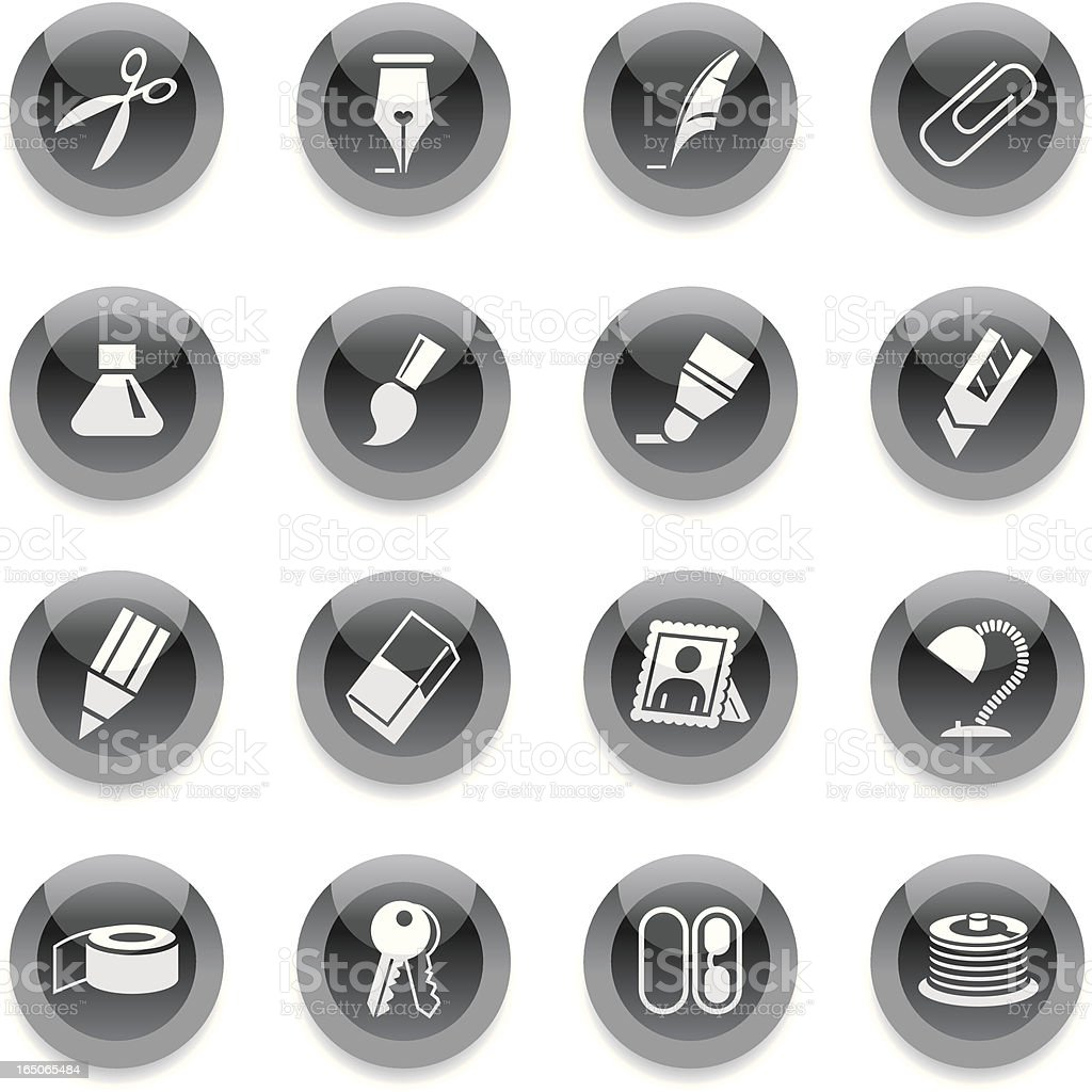 Black Round Icons - Office royalty-free stock vector art