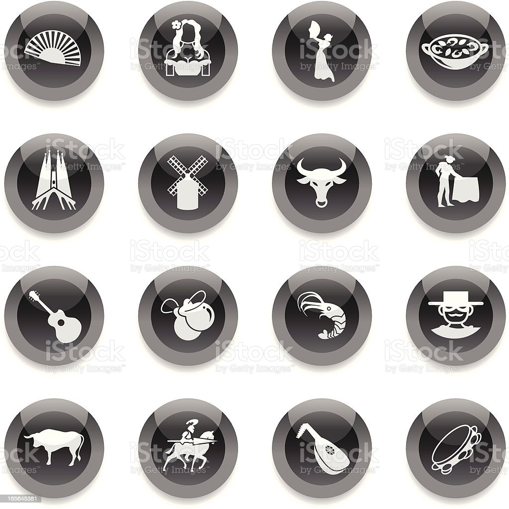 Black Round Icons - Spain vector art illustration