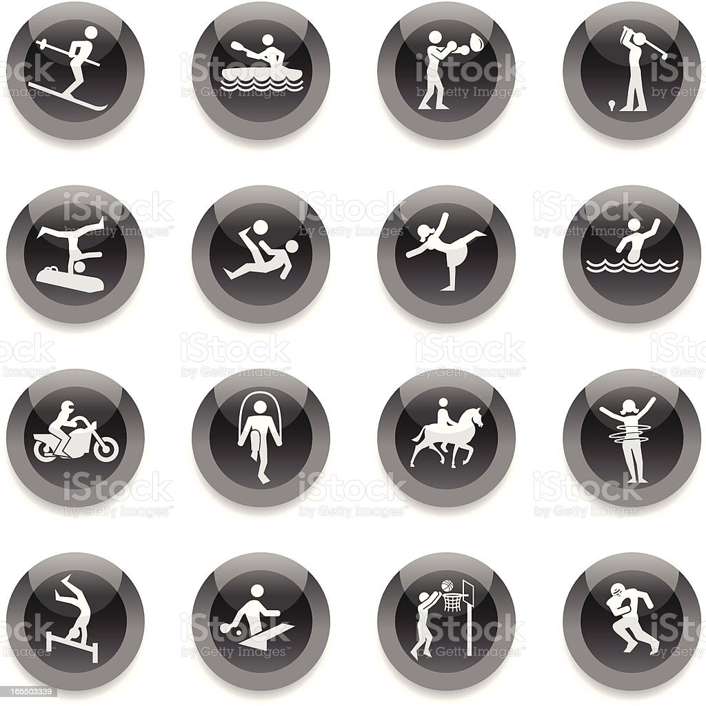 Black Round Icons - Sports royalty-free stock vector art