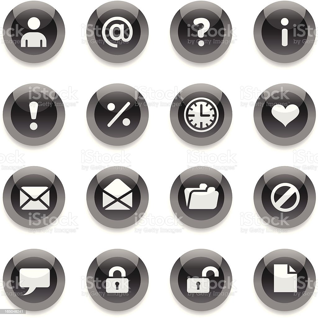 Black Round Icons - Web royalty-free stock vector art