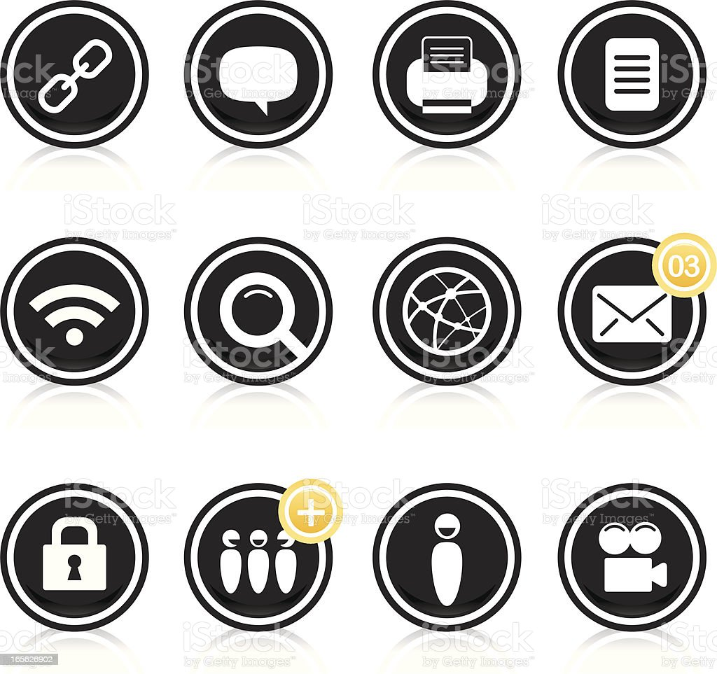 Black round network icons royalty-free stock vector art