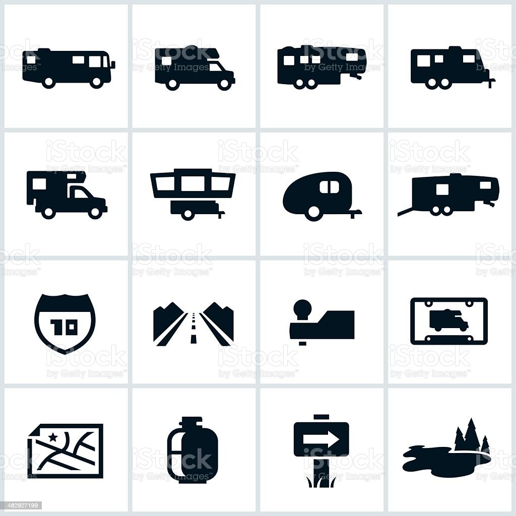 Black RV Icons vector art illustration