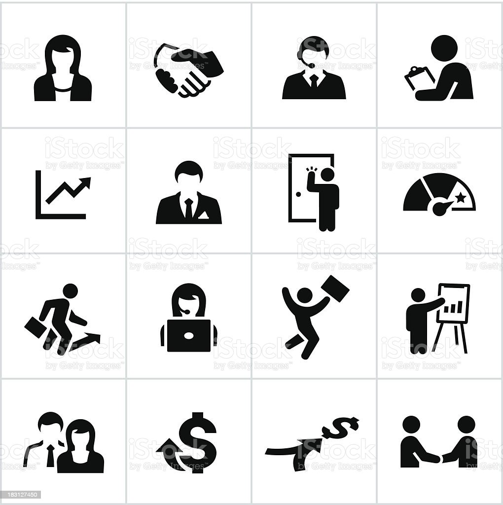 Black Sales Occupation Icons vector art illustration