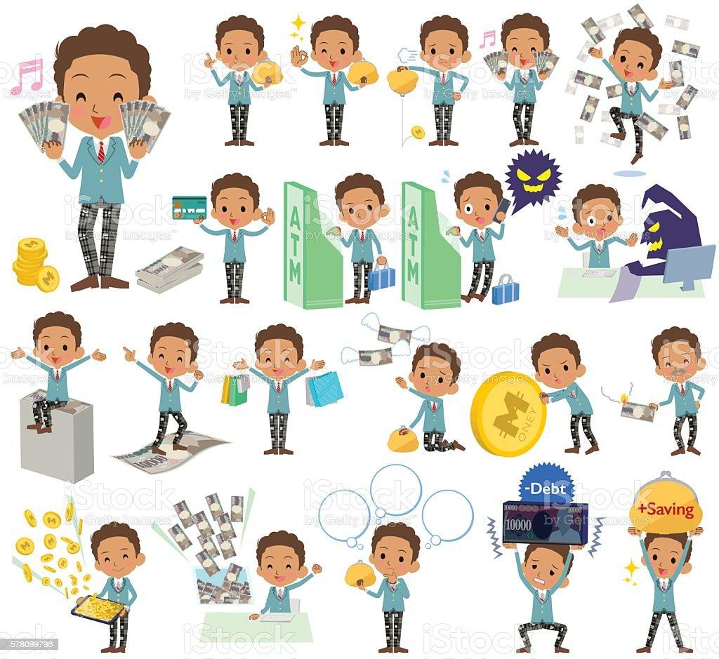 Black schoolboy money vector art illustration