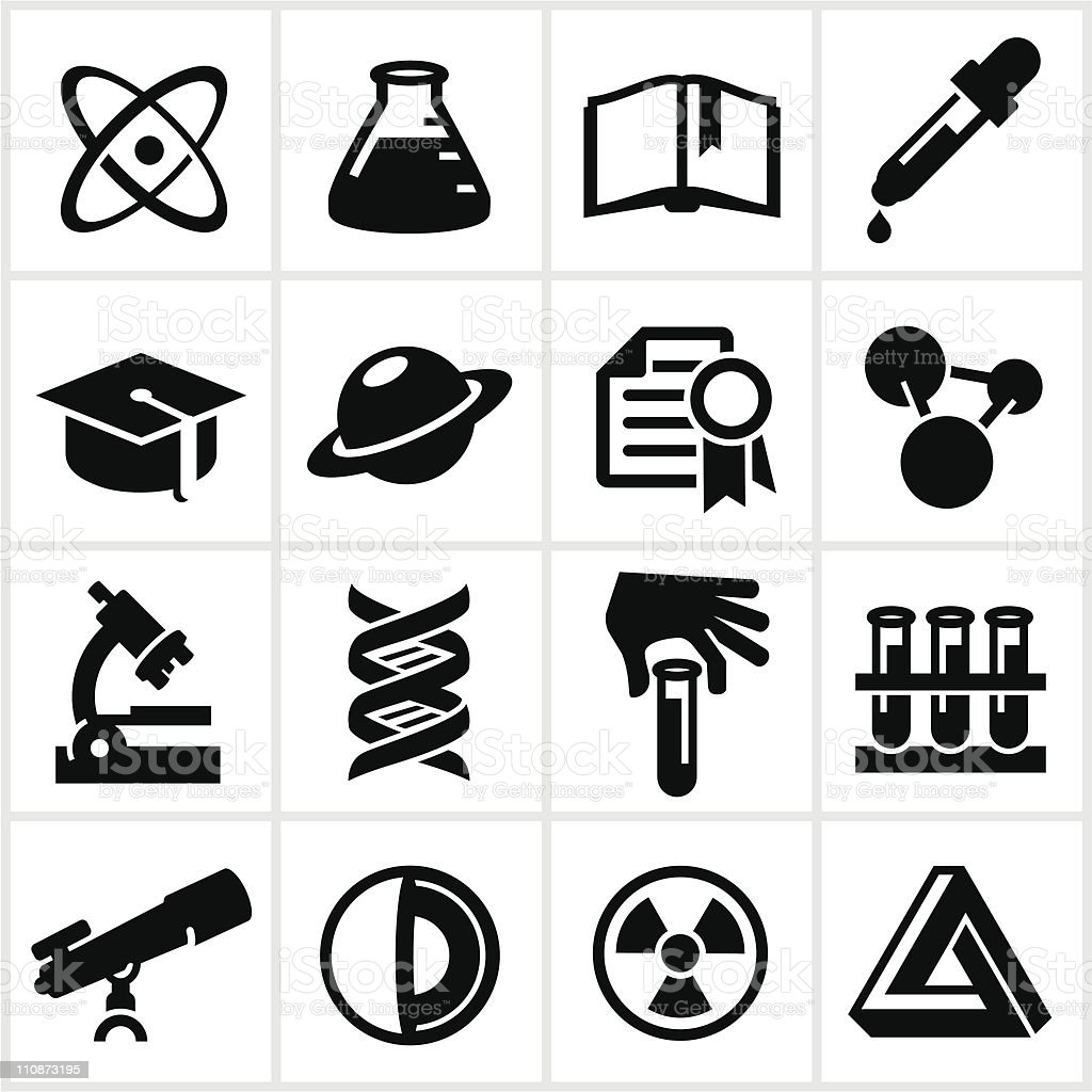 Black Science and Research Icons vector art illustration