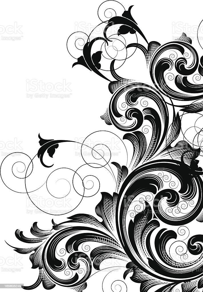 Black Scroll Corner royalty-free stock vector art