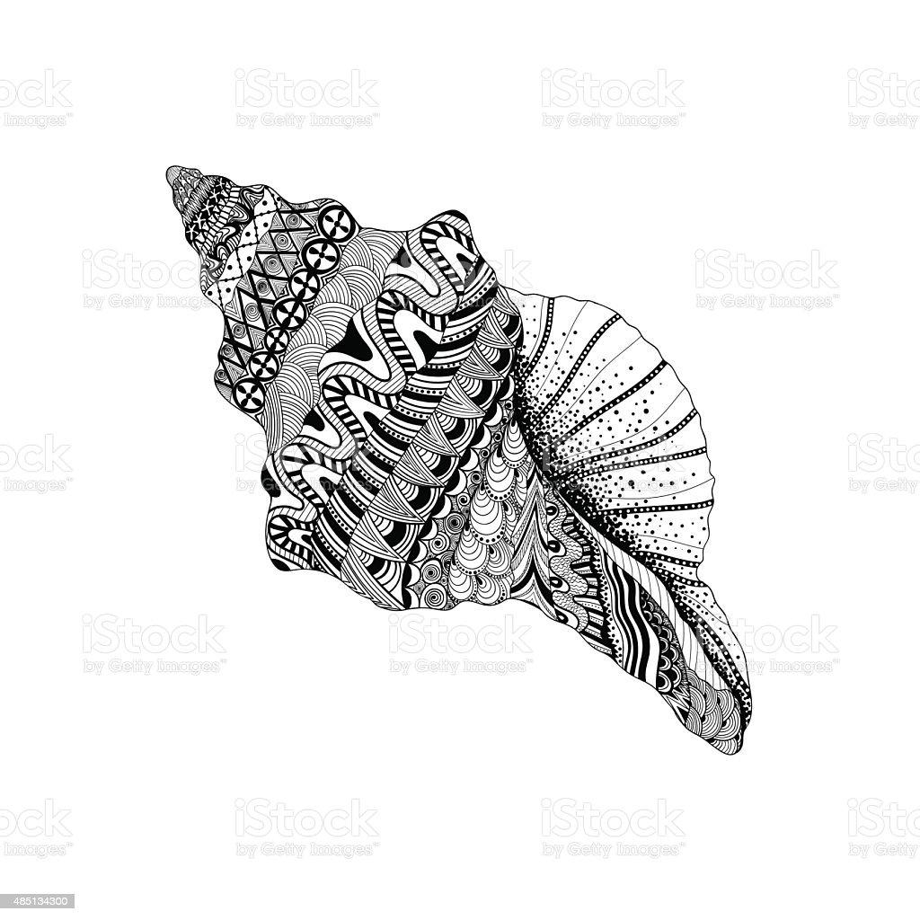 Black sea cockleshell. Hand Drawn aquatic doo vector art illustration