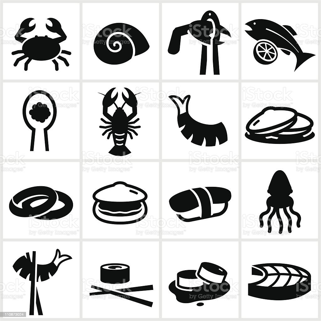 Black Seafood Icons royalty-free stock vector art