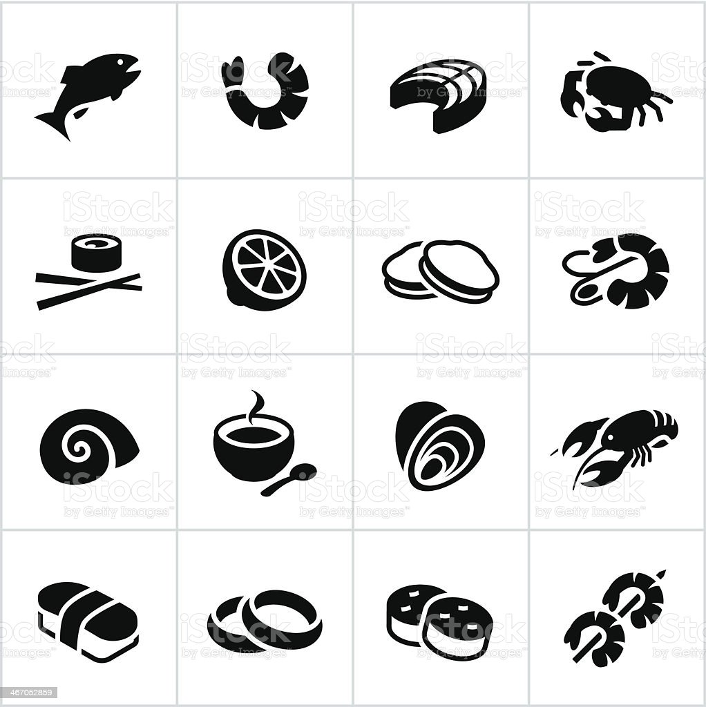 Black Seafood Icons vector art illustration