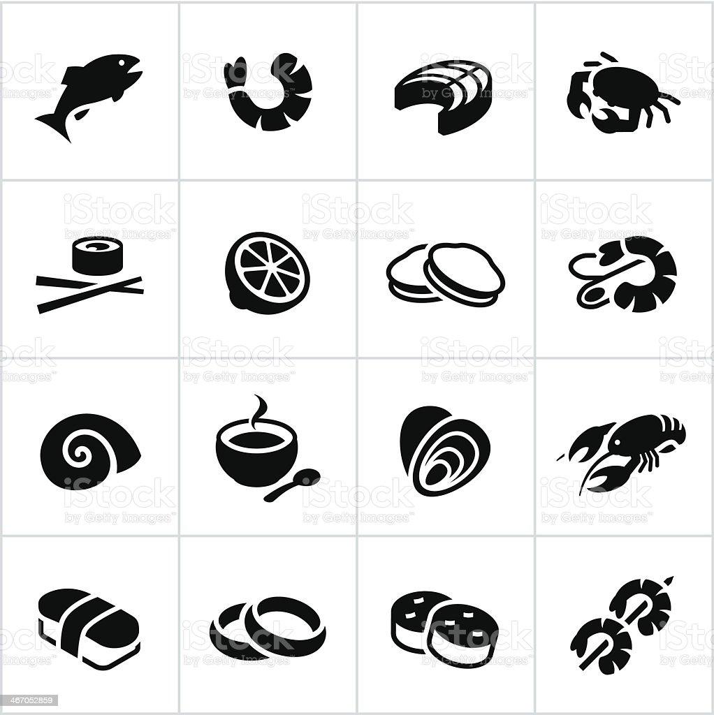 Black Seafood Icons vector art illustration
