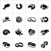 Black Seafood Icons