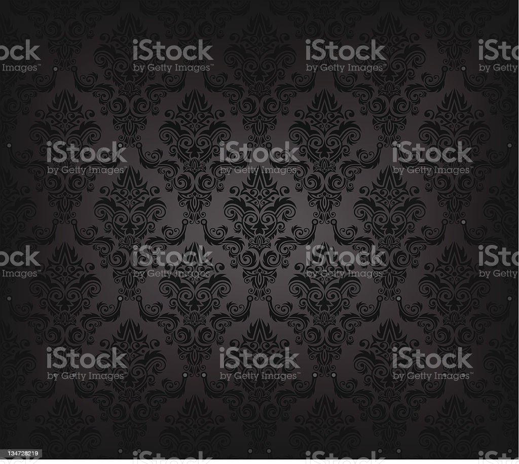 Black seamless wallpaper pattern vector art illustration