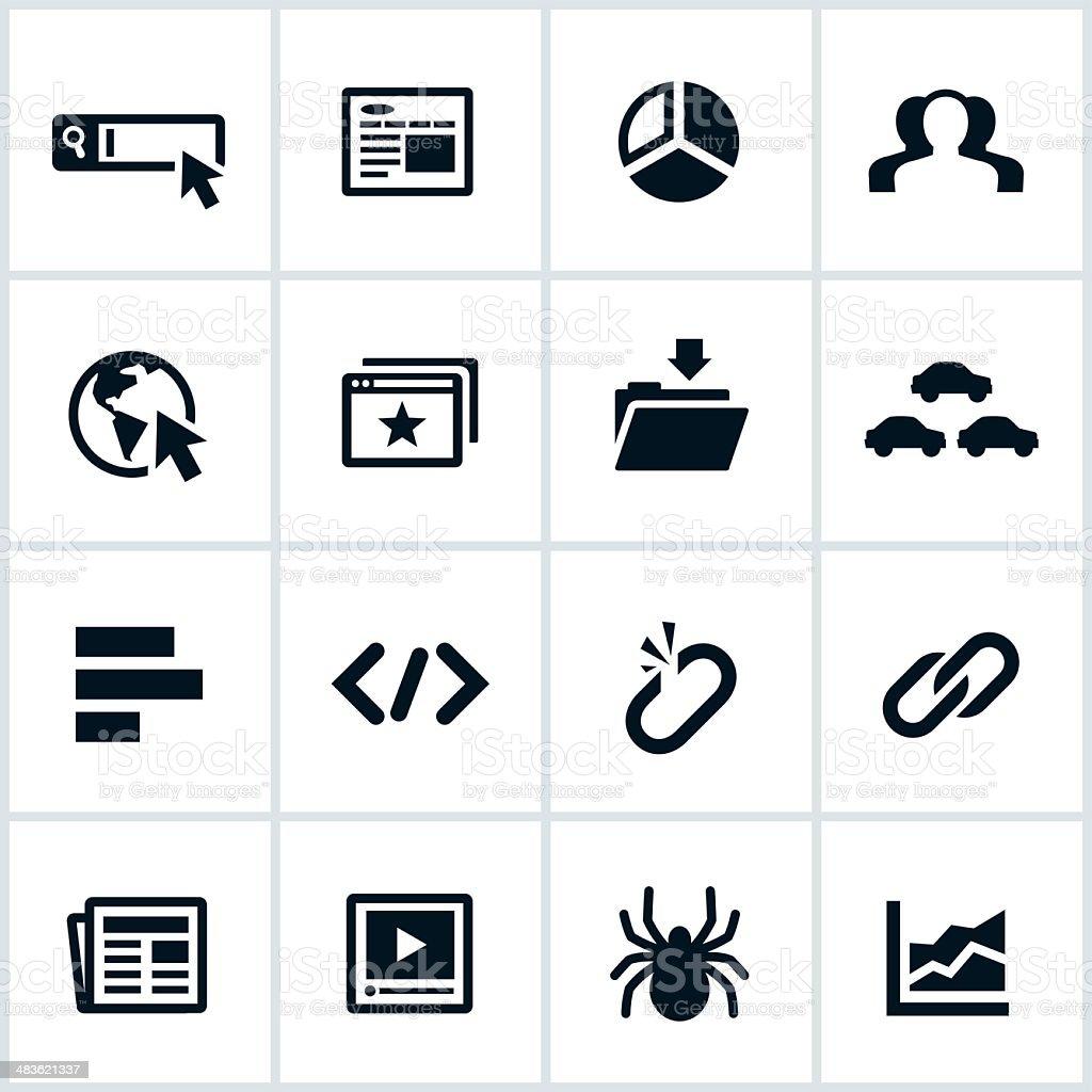 Black SEO Icons vector art illustration