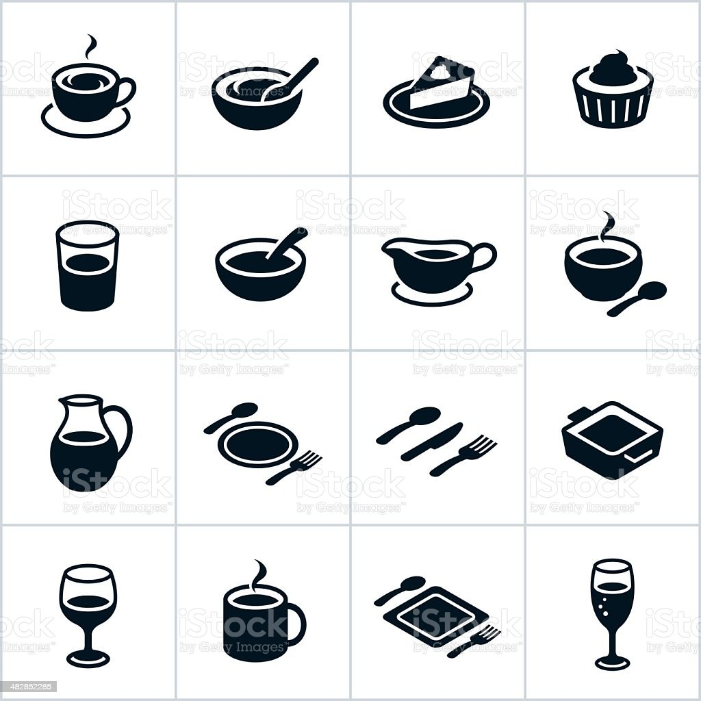 Black Serving Dishes Icons vector art illustration