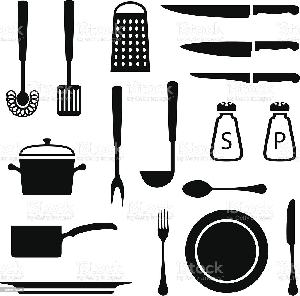Black set of kitchen icons on white background royalty-free stock vector art