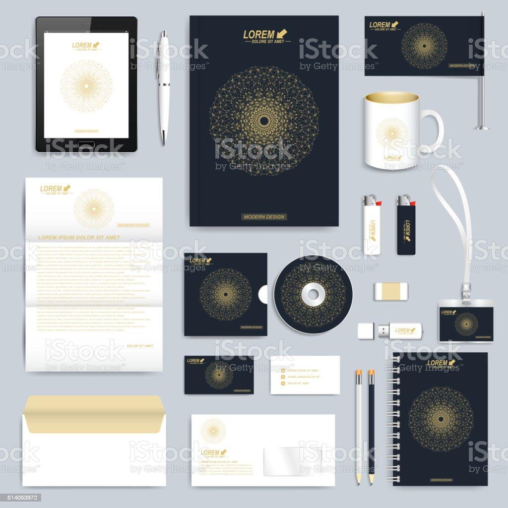 Black set of vector corporate identity template. Modern business stationery vector art illustration