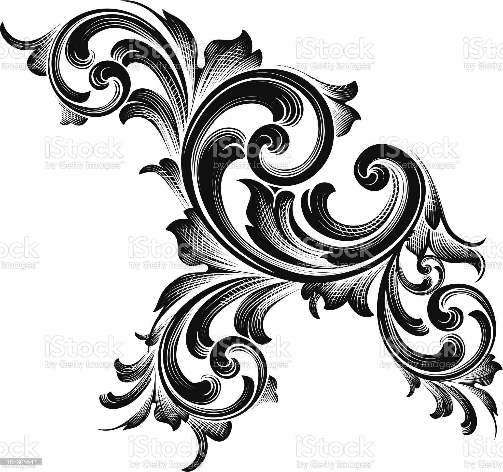 Black Shaded Scroll royalty-free stock vector art
