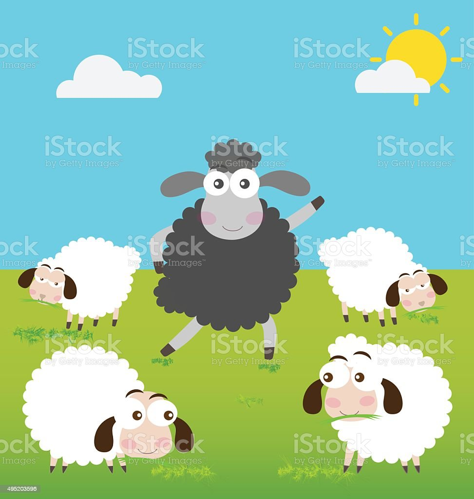Black Sheep and White Sheep in Green Field vector art illustration