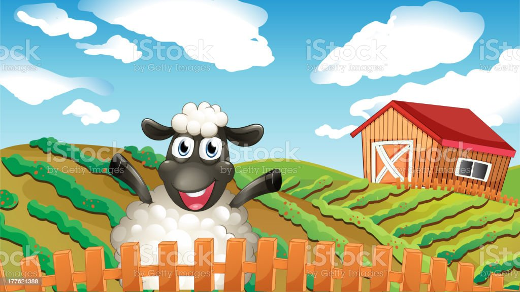 Black sheep inside the fence royalty-free stock vector art