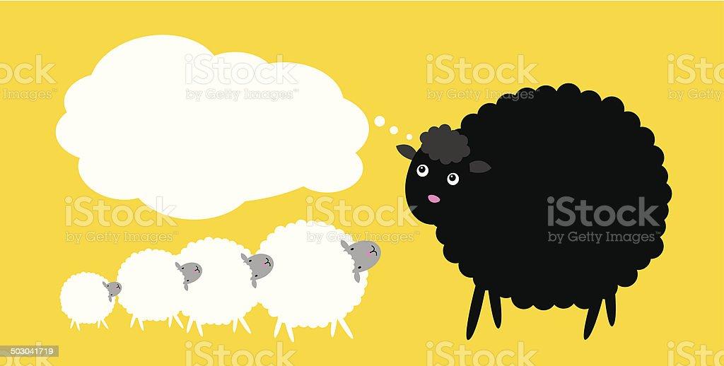 Black sheep thinking royalty-free stock vector art