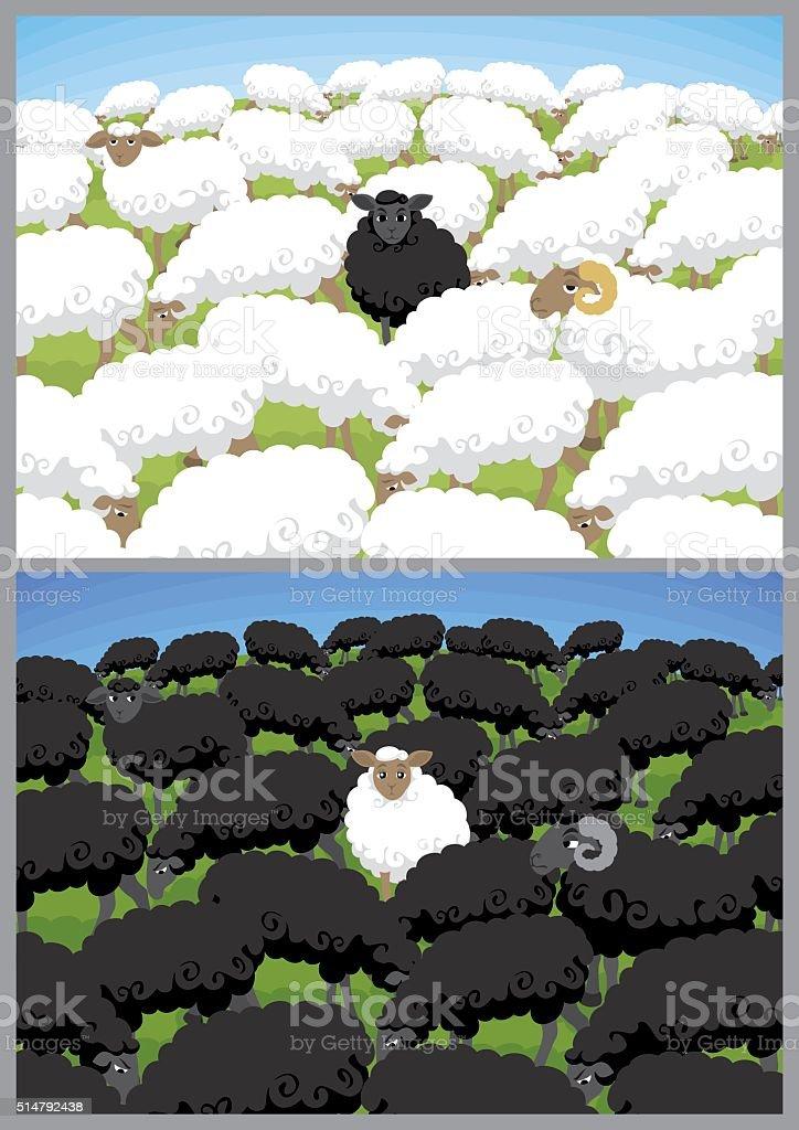 Black Sheep vector art illustration