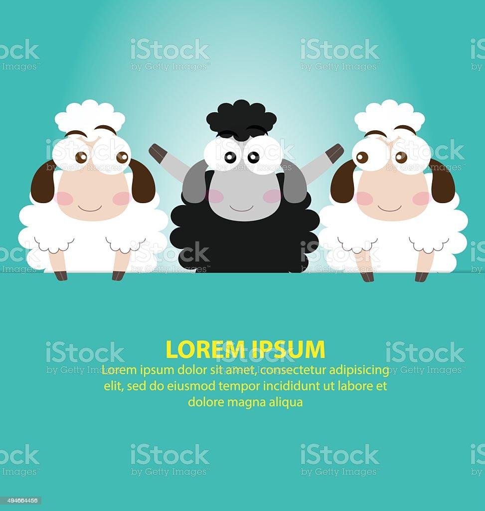 Black Sheep with Blue Background vector art illustration