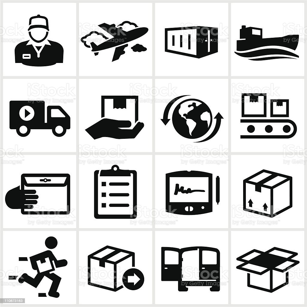 Black Shipping and Delivery Icons vector art illustration