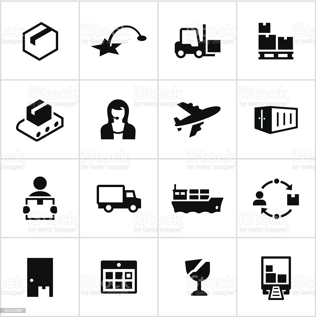Black Shipping Icons vector art illustration