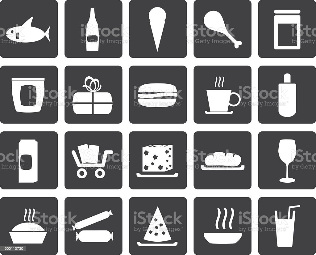 Black Shop and Foods Icons vector art illustration