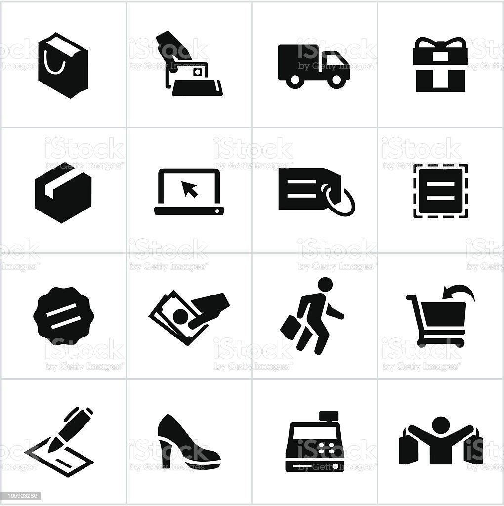 Black Shopping Icons vector art illustration