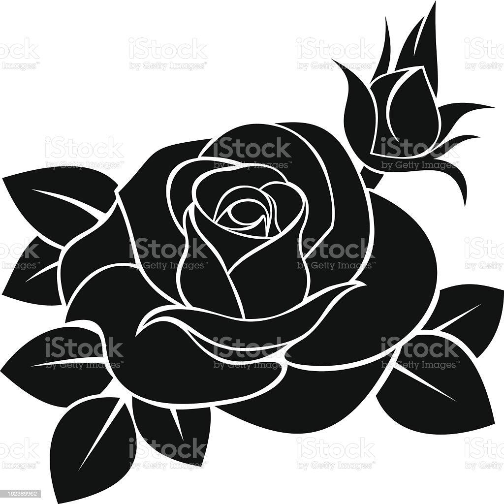 Black silhouette illustration of a rose, rosebud, and leaves vector art illustration