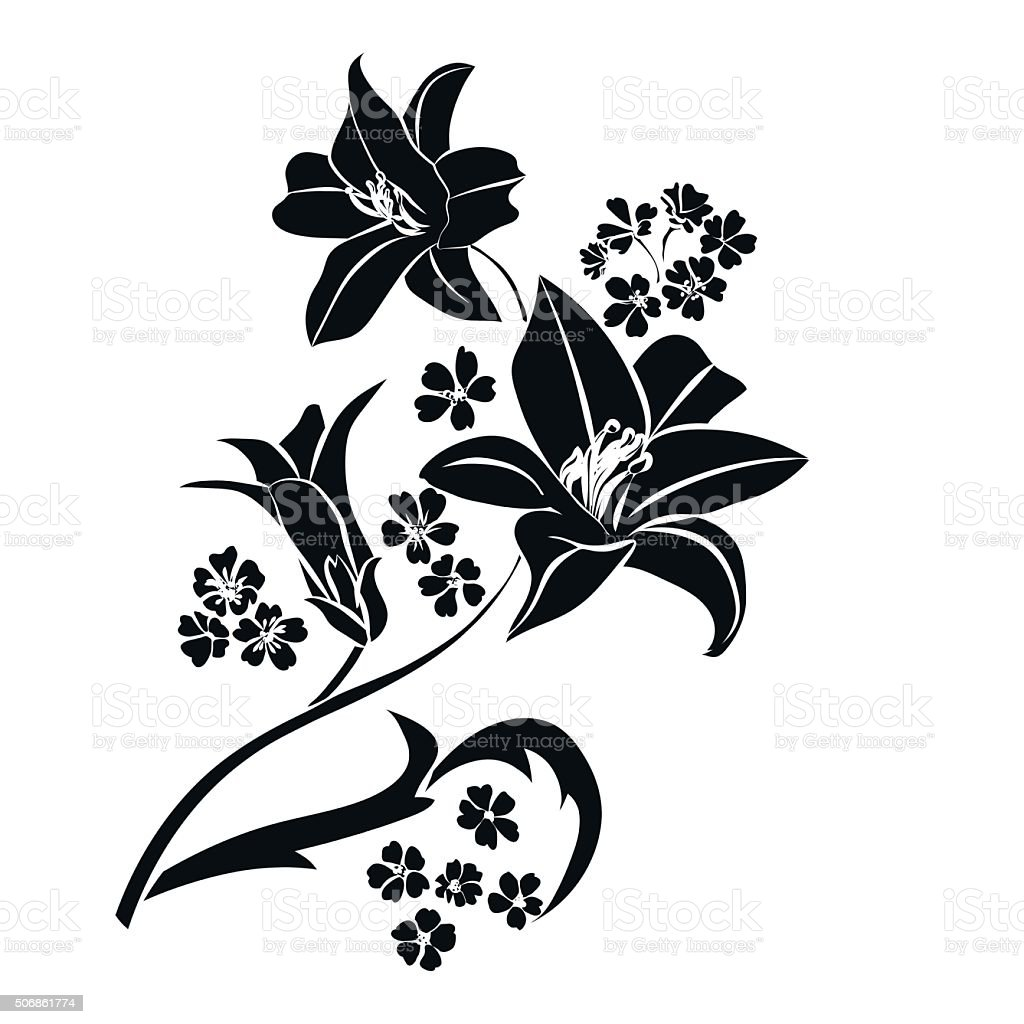Black silhouette Lily. vector art illustration
