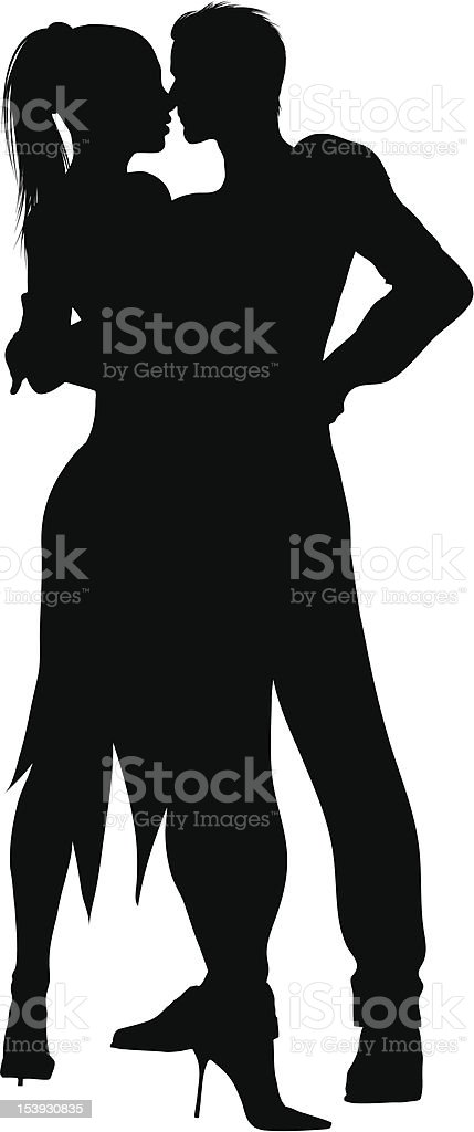 Black silhouette of a male and female dancer on white vector art illustration