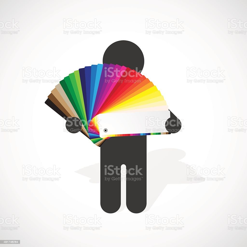 black silhouette of a man holds color swatches palette vector art illustration