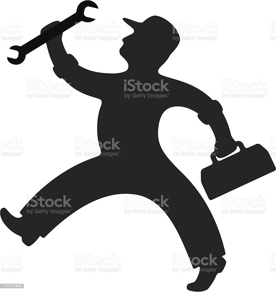 A black silhouette of a mechanic with a wrench and toolbox royalty-free stock vector art