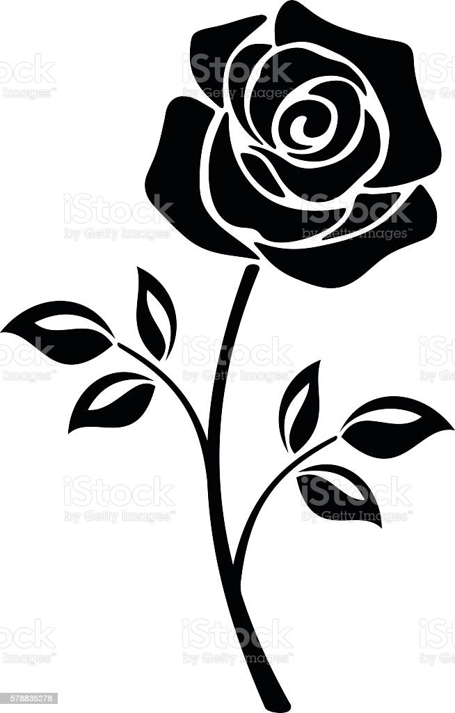 Black Silhouette Of A Rose Flower Vector Illustrations ...