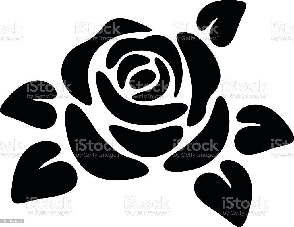 Black Silhouette Of A Rose Vector Illustrations stock ...