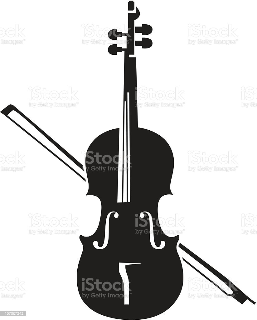A black silhouette of a violin on a white background vector art illustration