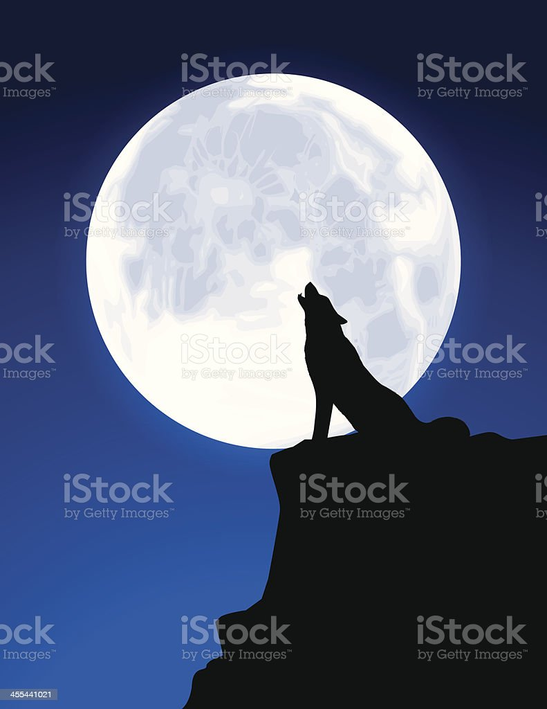 Black Silhouette of a Wolf Howling at a Full Moon vector art illustration
