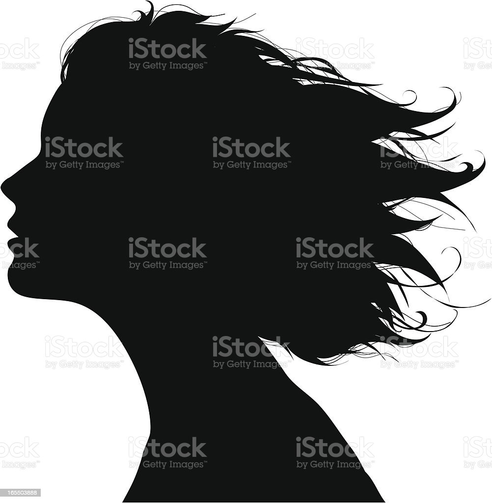 Black silhouette of a woman's facial profile in the wind royalty-free stock vector art