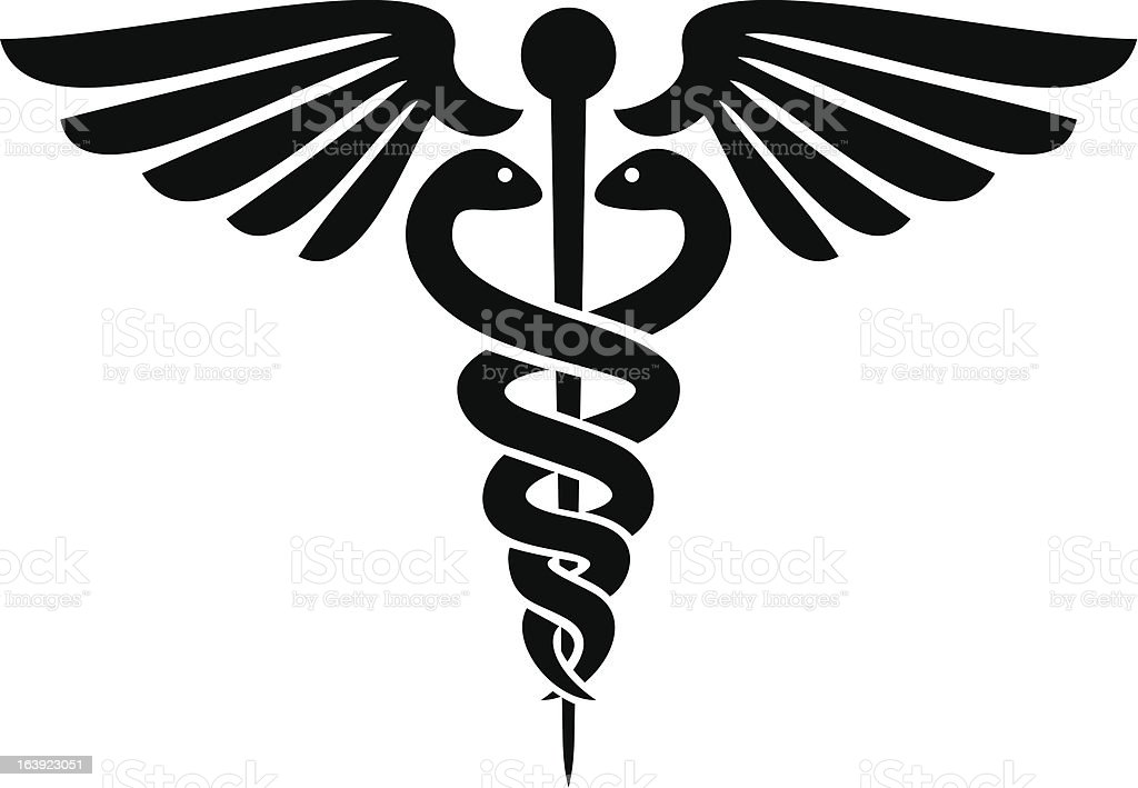 Black silhouette of caduceus medical symbol vector art illustration