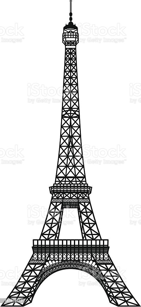 Black silhouette of Eiffel Tower vector art illustration