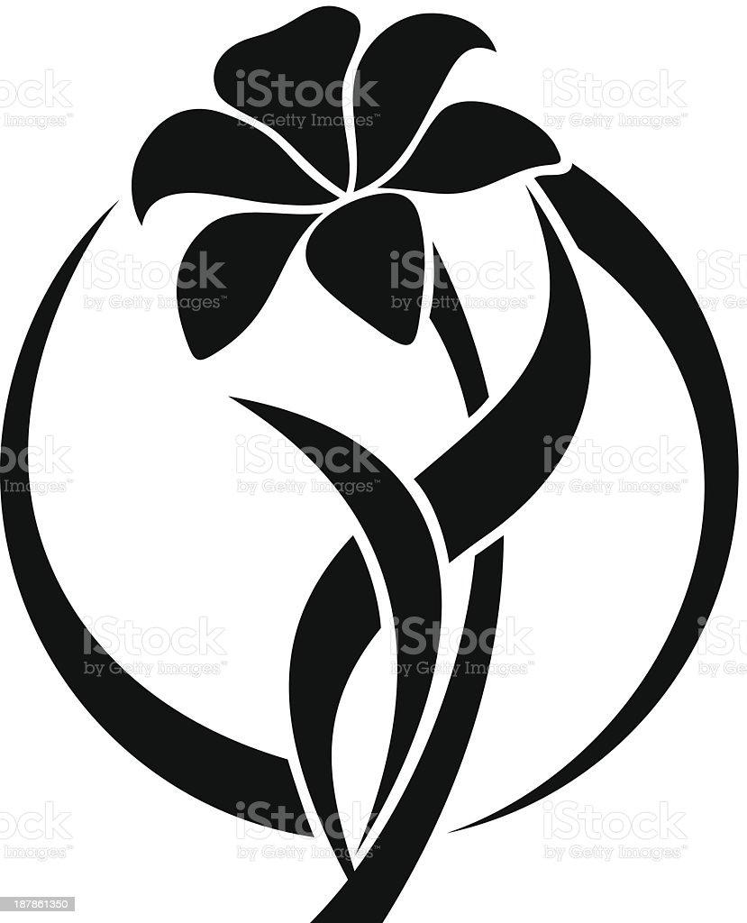Black silhouette of lily flower. Vector illustration. vector art illustration