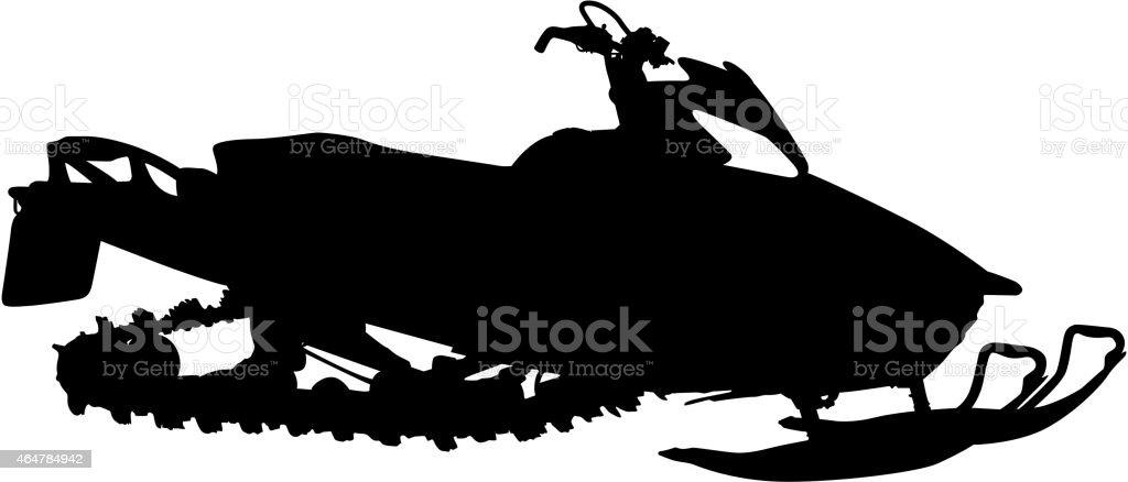 Black silhouette of modern snowmobile on white background vector art illustration